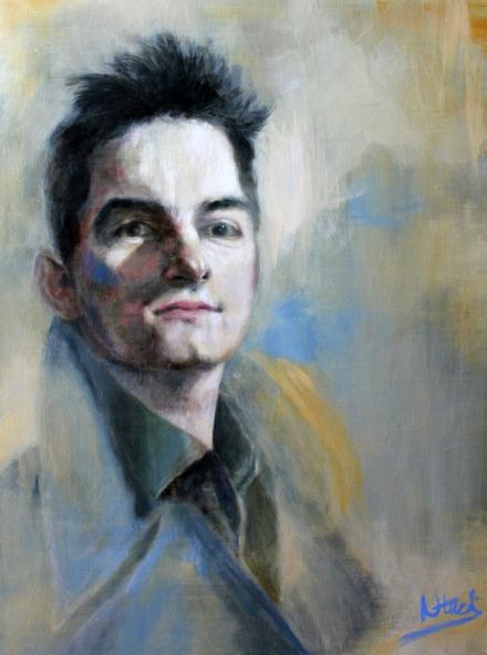 Man In Blue (acrylic on canvas) 80 x 60 cm