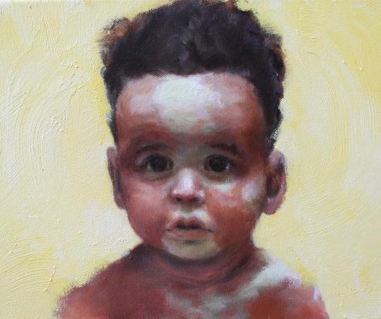 'Child #1' Oil on canvas (36 x 41cm) (framed size)